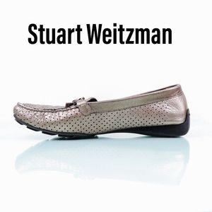 Stuart Weitzman Metallic Pin Hole Leather Loafers